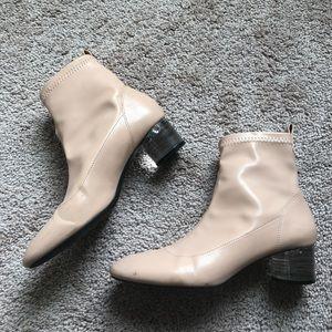 Zara Nude Patent Boots EU 37